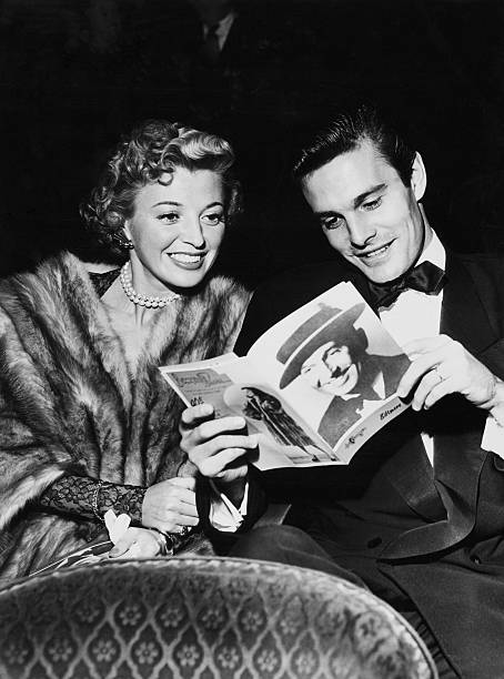Mr And Mrs Louis Jourdan Attend One Man Show Of Maurice Chevalier At Biltmore Theater In New York On Fifties