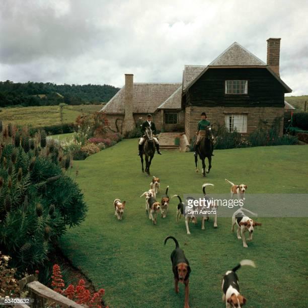 Mr and Mrs Mason recreate an English foxhunt on their Kenyan estate 1958