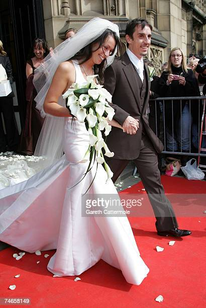 Mr and Mrs Neville leave Manchester Cathedral after their wedding on June 16 2007 in Manchester England