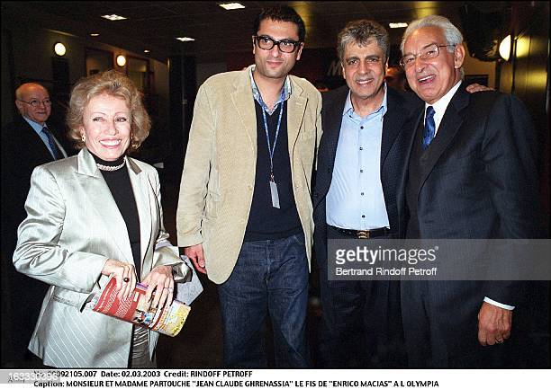 """Mr and Mrs Partouche """"Jean Claude Ghrenassia"""" son of """"Enrico Macias"""" at the Olympia."""
