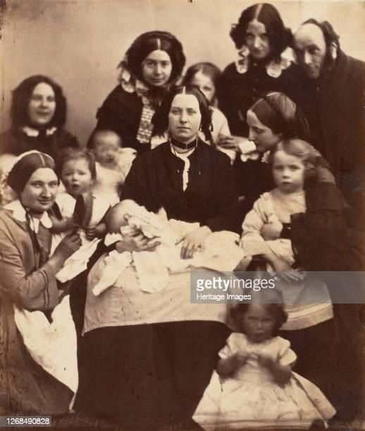 Mr. And Mrs. R. B. Tennent, Mrs. E. H. Yates, Mrs. Brandram, their Children and Three Nurses, 1850s. Artist Unknown.