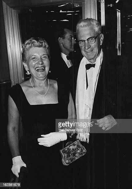 MAY 12 1960 MAY 13 1960 Mr and Mrs Ralph B Mayo arrive for a performance at Bonfils theater of the musical Kiss Me Kate ******