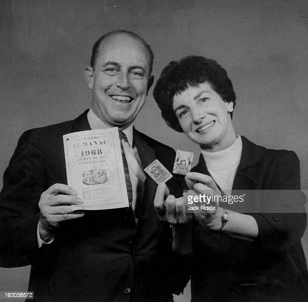 OCT 6 1967 OCT 8 1967 Mr And Mrs Ray Geiger With Almanacs He's holding the latest edition of Farmers' Almanac and Mrs Geiger shows two vestpocketsize...