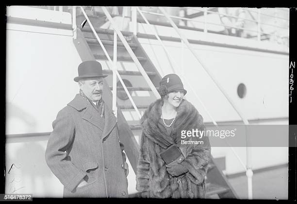 Mr and Mrs Robert Goelet two of America's real leaders of real society sailing for Europe on the SS Conte Biancamano