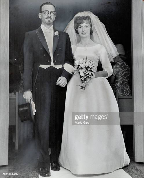 Mr and Mrs Ronald Earl Johnson are seen leaving Runnymede Presbyterian Church following their marriage The bride was the former Gwendoline Alice...