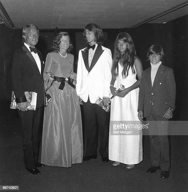 Mr. And Mrs. Sargent Shriver and family, Robert Jr, Maria, and Timothy at the opening of the John F. Kennedy Center for the Performing Arts in...