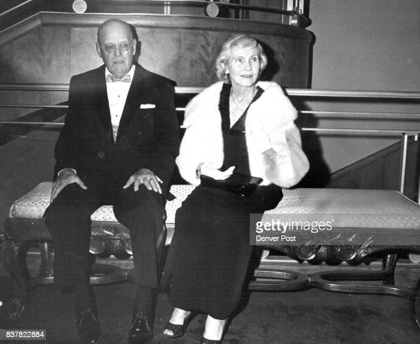 Mr and Mrs Thomas Welborn await curtain bell in lobby of Bonfils Theatre at opening of 'Gypsy' Thursday Credit Denver Post