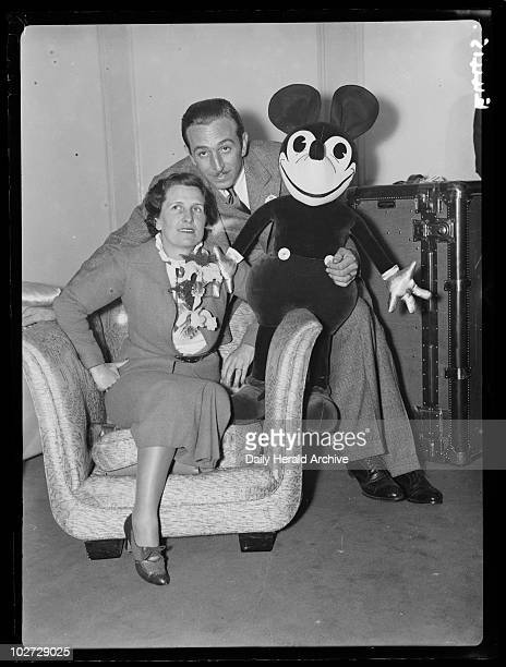 Mr and Mrs Walt Disney with Mickey Mouse London 21 June 1935 Walt Disney American animator and showman with his wife Lillian and one of his creations...