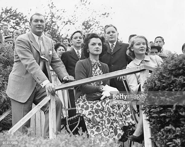 Mr and Mrs Winston Guest with sons Winston and Freddie attend a polo match in New York with Brenda Frazier at the Meadowbrook Club in Old Westbury...