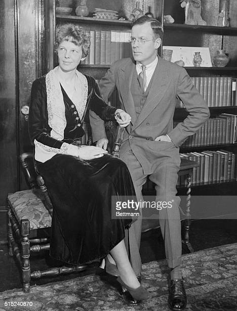 Mr. And Mrs.George Palmer Putnam, photographed in their apartment at the Hotel Wyndham, 42 West 58th Street, New York City. This is the first photo...
