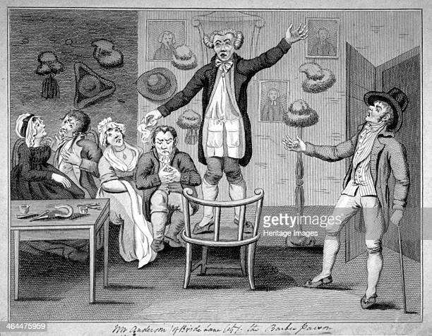 'Mr Anderson the barber parson' 1780 A barber stands on a chair evangelising his customers Two of his customers chat regardless one is bored one...