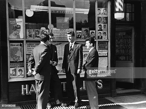 Mr Angel Rose claims to have originated the 1950s cult of original hairstyling for men These men outside a barber shop are sporting the styled hair...