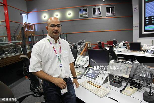 Mr Astorg JeanMarc Director of Launches for the Ariane5 rocket poses in the control room on October 5 2016 in Kourou French Guiana European countries...