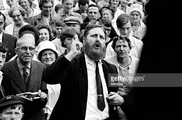 Mr Austen Brooks a member of the League of Empire Loyalists heckles Conservative Prime Minister Alec DouglasHome at Ongar 27th July 1964