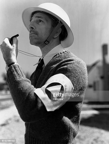 Mr Babcock an air raid warden during World War II Rochester New York March 1943