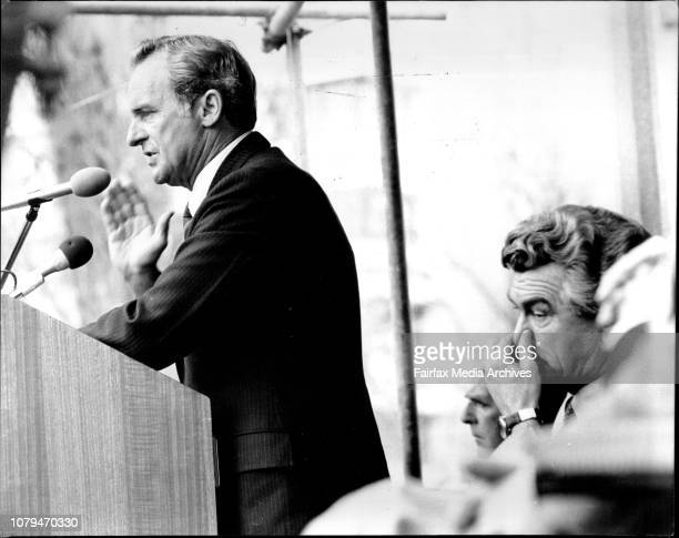 Mr Bill Hayden talking at the meeting with Bob Hawke in foregroundThe Premier of NSW Mr Neville Wran Mr Bill Hayden and Mr Bob Hawke talked at a...