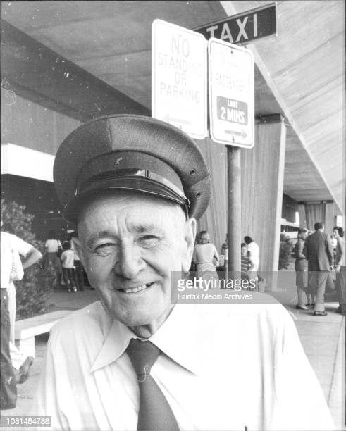 Mr Bill Sweeney commissionaire NSW Taxi Council at Sydney airport December 22 1977