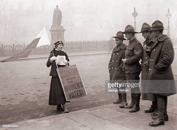Mr Bonar Law Declines to Accept the Premiership Mr Lloyd George Summoned to the Palace London England Anzacs interested in a suffragette