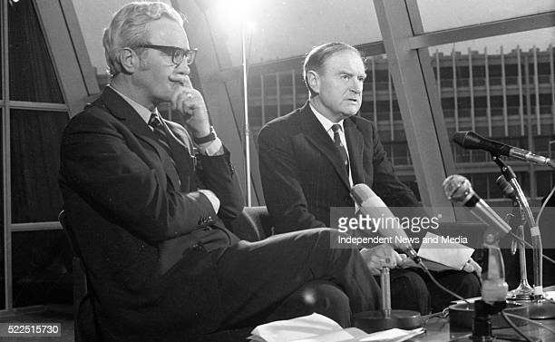 Mr Brendan Corish and Mr Liam Cosgrave on their arrival at Dublin Airport from London 373191