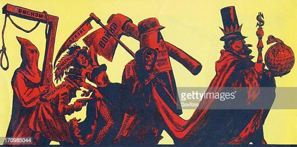 Mr capitalism and his entourage' antiamerican propaganda cartoon by n semenov published in krokodil magazine ussr 1961