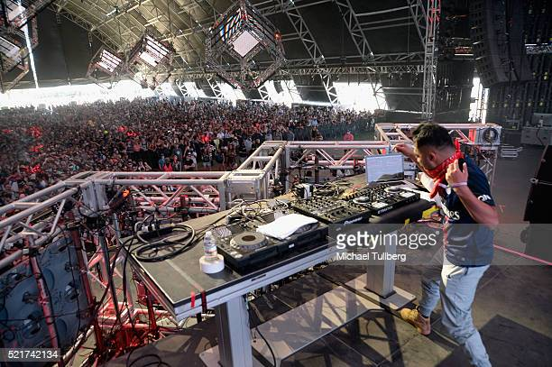 Mr Carmack performs onstage during day 2 of the 2016 Coachella Valley Music Arts Festival Weekend 1 at the Empire Polo Club on April 16 2016 in Indio...