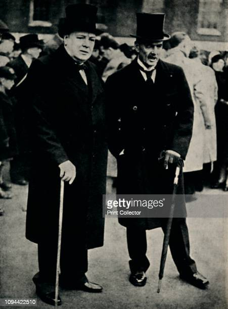 Mr Chamberlain and Mr Churchill' 23 February 1940 Winston Churchill and British Prime Minister Neville Chamberlain watching a ceremony in central...
