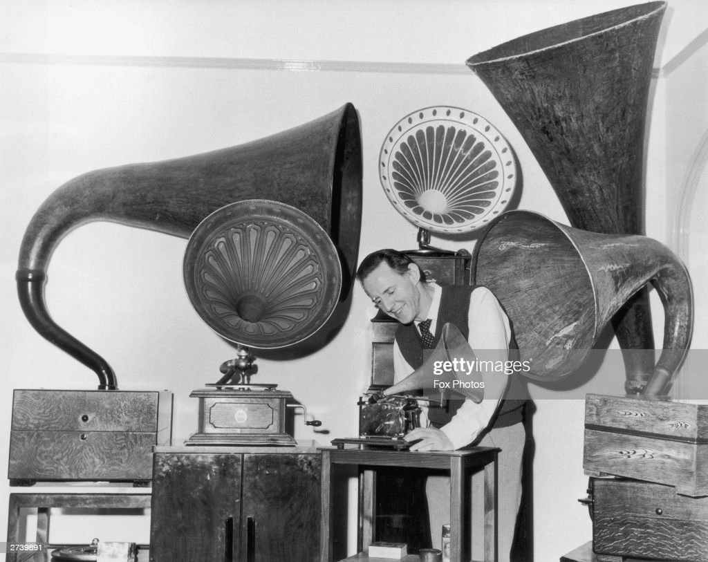 Mr Charles Aldous of Eastbourne with part of his extensive gramophone collection, 4th April 1972.