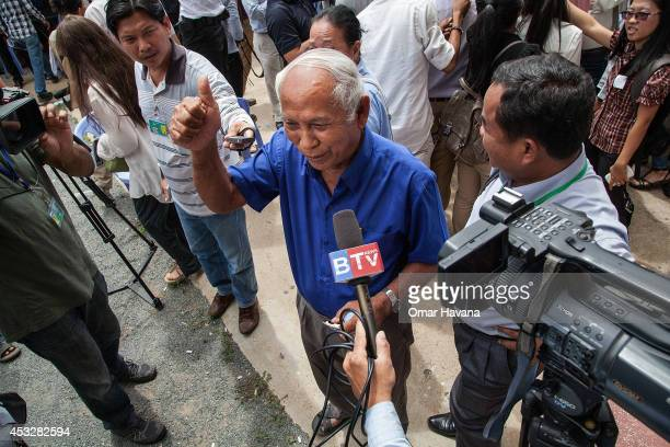 Mr Chum Mey a survivor of Tuol Sleng Prison speaks to press after the announcement of the verdict for former Khmer Rouge leaders Nuon Chea and Khieu...