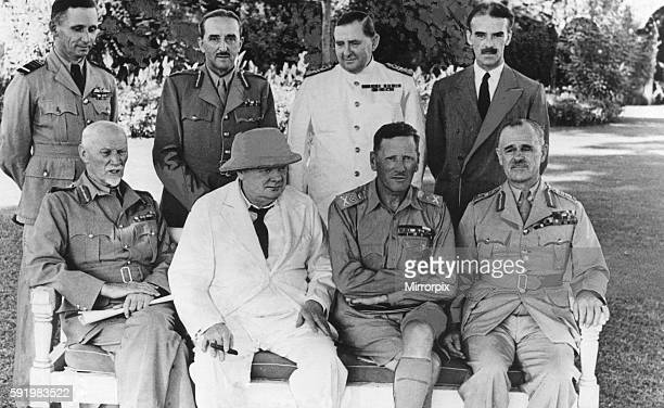Mr. Churchill, during his stay in the Middle East, in the gardens of the British Embassy, Cairo, with members of the Middle East War Council, Service...
