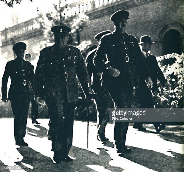 Mr. Churchill Visits Teheran, Persia', 1 December 1943, . British Prime Minister Winston Churchill with Major General A Selby, , acting Commander in...