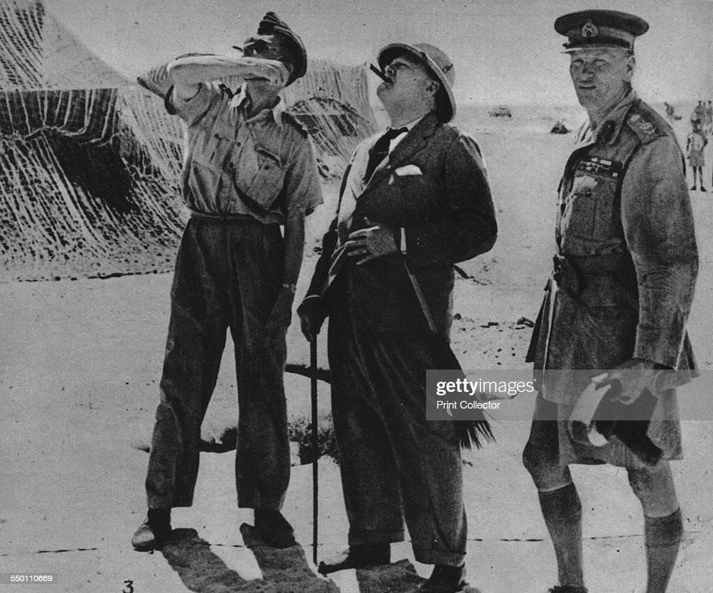 'Mr. Churchill With Sir A. Tedder And Gen. Auchinleck.', 1942. Artist: Unknown. : News Photo