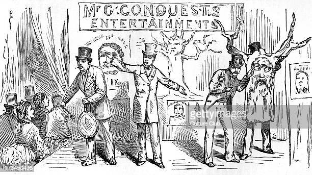 Mr Conquest's Bartholomew Fair Entertainment at the Dramatic College Fête Alexandra Palace London 1875 Caption reads 'Show 'em up show 'em up now's...
