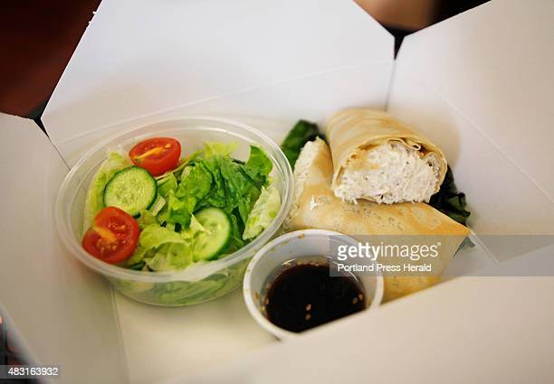 Mr Crabby fresh crab meat served in a homemade crepe and a salad and Shoyu dressing at Joy's Crepe Cafe in Portland July 29 2015 For Eat and Run
