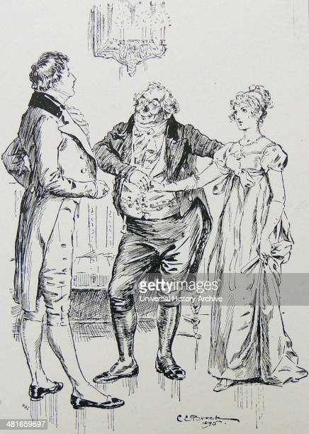 Mr Darcy and Elizabeth Bennet hero and heroine of the book are introduced Illustration by CE Brock for 1895 edition of ''Pride and Prejudice'' by...