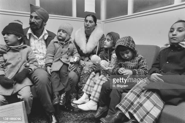 Mr Darshan Singh and his family leave Northolt Airport in the UK for West Germany, where they have been promised jobs and homes, 23rd January 1973....