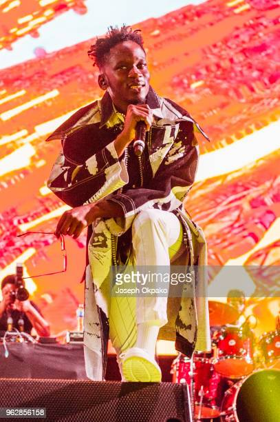 Mr Eazi performs on stage during AFROREPUBLIK festival at The O2 Arena on May 26 2018 in London England