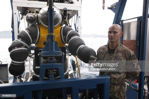 Mr Emeric Salvi the French Navy diver with his 'Newtsuit' The men of the French Navy was involved in operation 'Moon' with the totality of the...