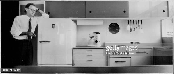 """Mr Emmett in the 1951 state-of-the-art kitchen, above, and what was once called """"a house with legs [to] frighten Sydney home-seekers"""".The Rose..."""