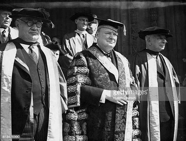 Mr Ernest Bevin Winston Churchill and A V Alexander at Bristol University in 1945