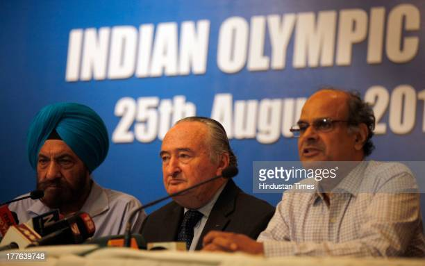 Mr. Francisco J. Elizalde, IOC member along with Tarlochan Singh , Member of the Indian Olympic Association during the press conference after the...