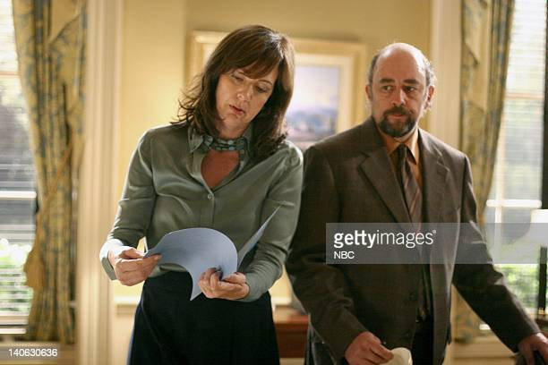 WING Mr Frost Episode 4 Aired Pictured Allison Janney as Claudia Jean 'CJ' Cregg Richard Schiff as Toby Ziegler Photo by Danny Feld/NBCU Photo Bank