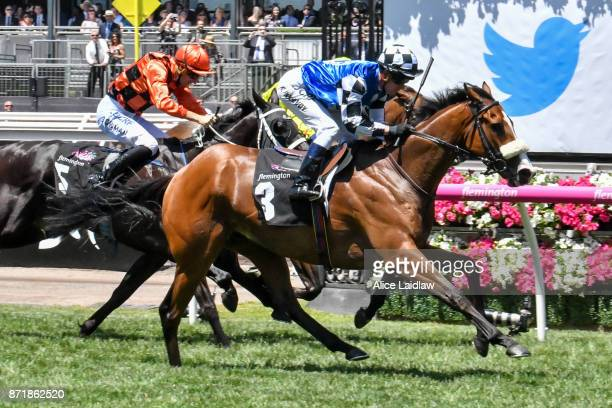 Mr Garcia ridden by Kerrin McEvoy wins the Twitter Trophy at Flemington Racecourse on November 09 2017 in Flemington Australia