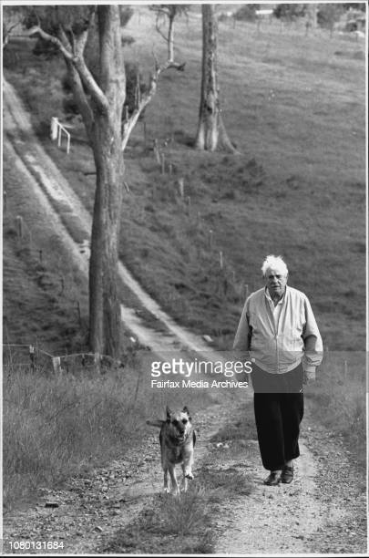 Mr Geoff Holland with his dog Nikki at his Cobargo propertyMr Geoff Holland accountant and World War II veteran of Cobargo April 11 1994
