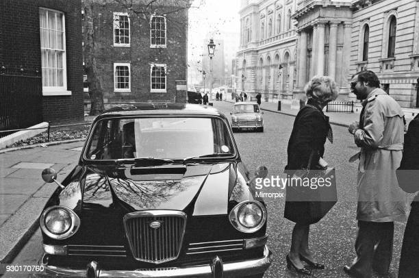 Mr Geoffrey Rippon being driven in his chauffeur driven electric mini They take a short spin around the block before drink to 10 Downing Street 21st...