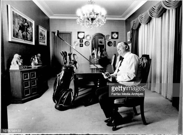 Mr George Drysdale in the plush dining room of his Strathfield home Sizing up his No 2 wood after the purchase of the Newport country club for 6¼...