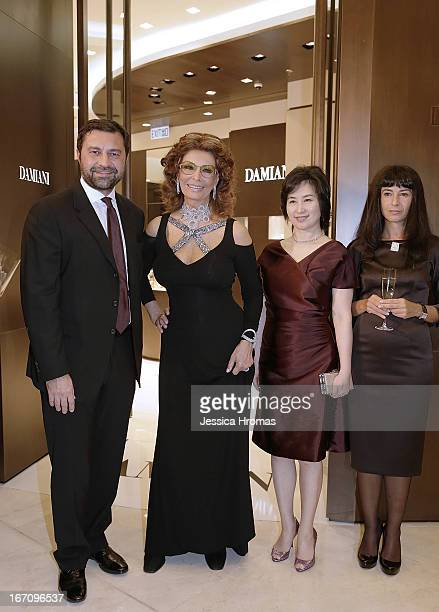 Mr Giorgio Damiani Vice President of Damiani Group Italian actress Sophia Loren Pansy Ho and Ms Alessandra Schiavo Consul General of Italy in Hong...