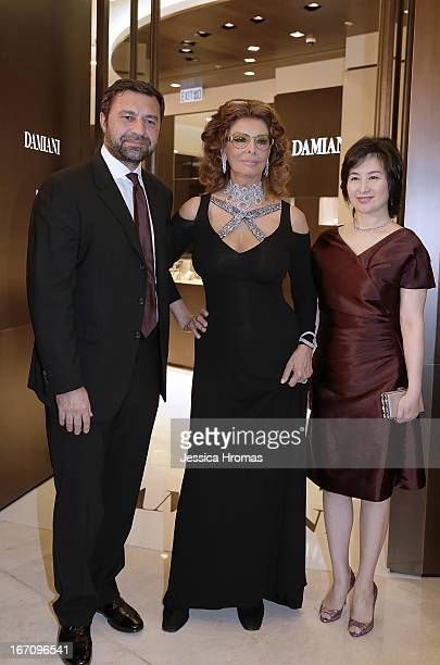 Mr Giorgio Damiani Vice President of Damiani Group Italian actress Sophia Loren and Pansy Ho at the Damiani flagship store opening at Element Mall...