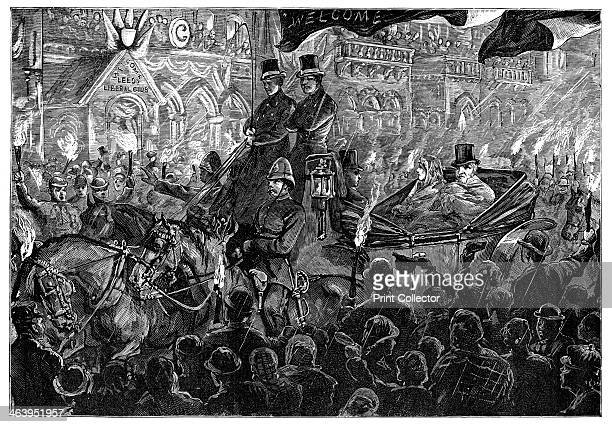 'Mr Gladstone at Leeds' late 19th century Gladstone and his wife travelling in a torchlight procession are cheered on by a crowd which braves the...
