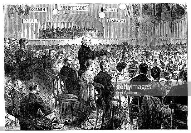 'Mr Gladstone at Leeds' late 19th century 'The Banquet in the old Cloth Hall' William Ewart Gladstone MP British Liberal Prime Minister was born in...