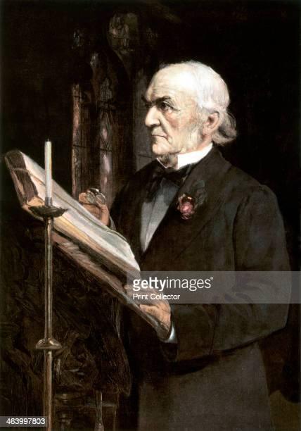 'Mr Gladstone reading the lessons in Hawarden Church', late 19th century. William Ewart Gladstone MP , British Liberal Prime Minister, was born in...